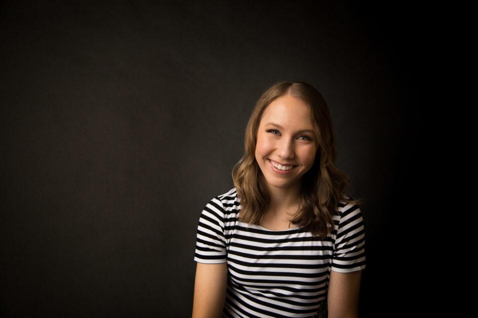 senior girl in studio
