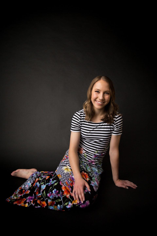 senior girl in striped dress